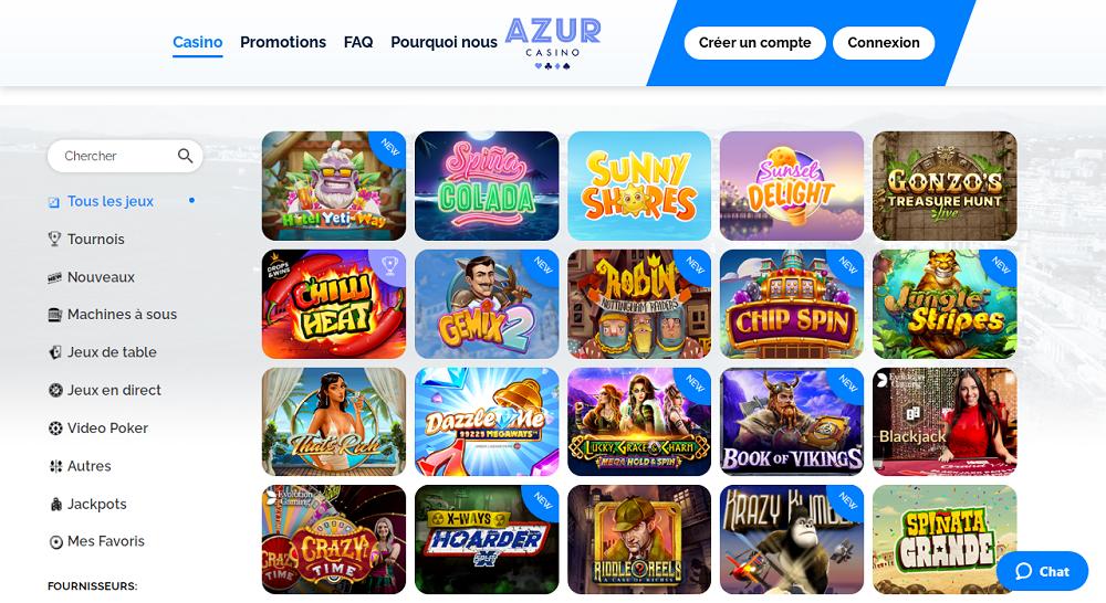 azur casino jeux