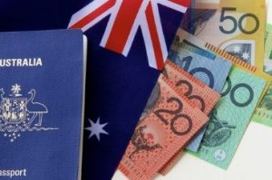 Jeu australien - passport australien sur drapeau australien - casinosansdepots.net
