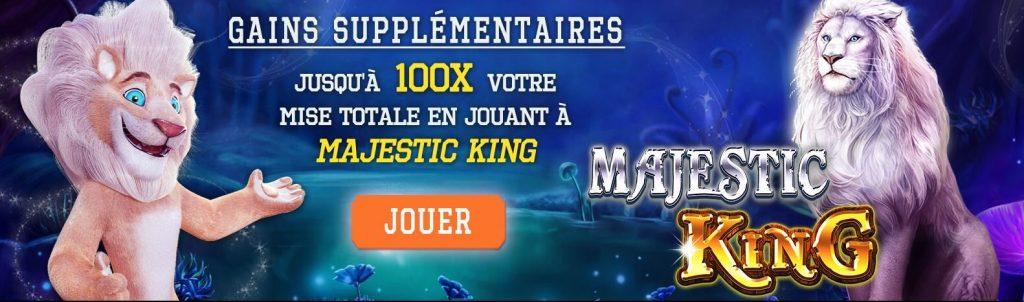 Gains supplementaires avec le jeu Majestic King sur White Lion casino