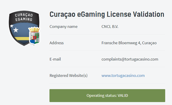 License de Curacao de Tortuga
