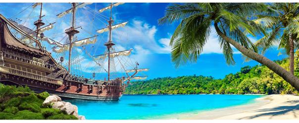 bateau de pirates sur une ile paradisiaque