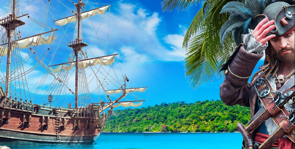 capitaine tortuga et son bateau de pirate