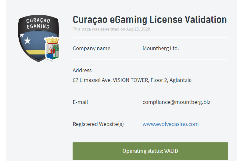 licence curacao evolve casino