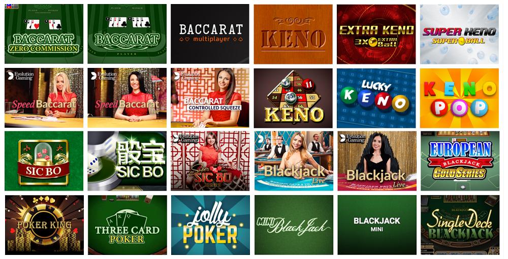 logiciels de jeux evolve casino