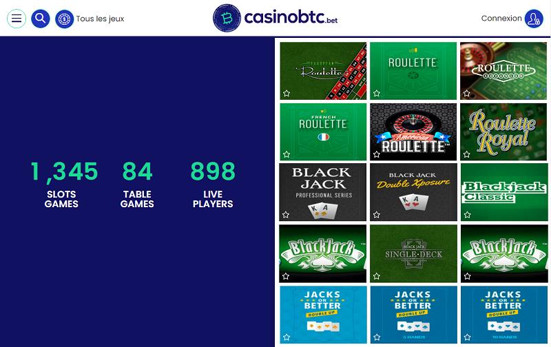 gamme de jeux chez Casinobtc.bet
