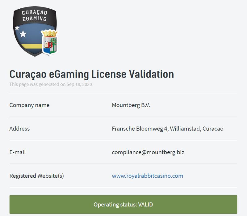 license curacao www.royalrabbitcasino.com