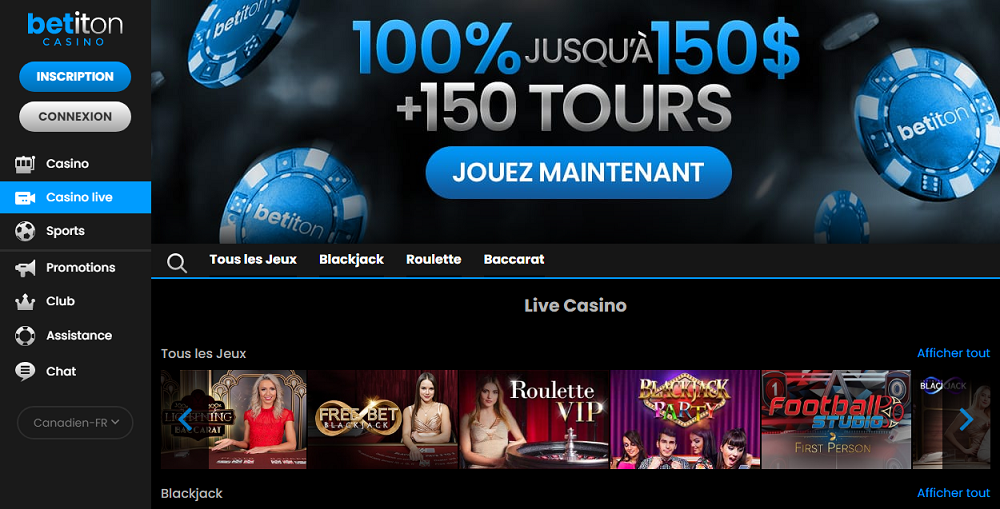 Casino Live sur Betiton casino