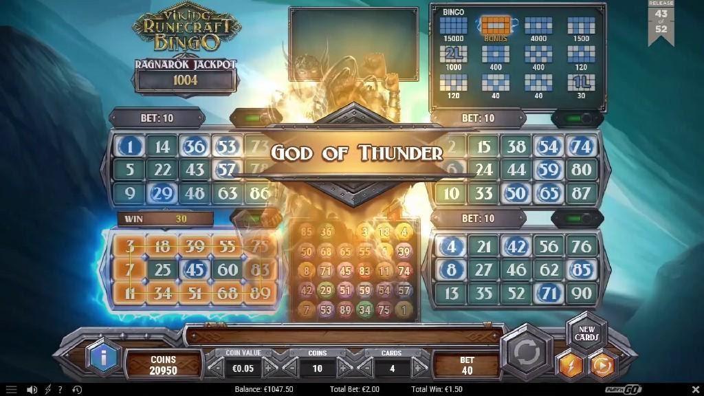 symboles et jackpot du jeu de casino Viking Runecraft Bingo