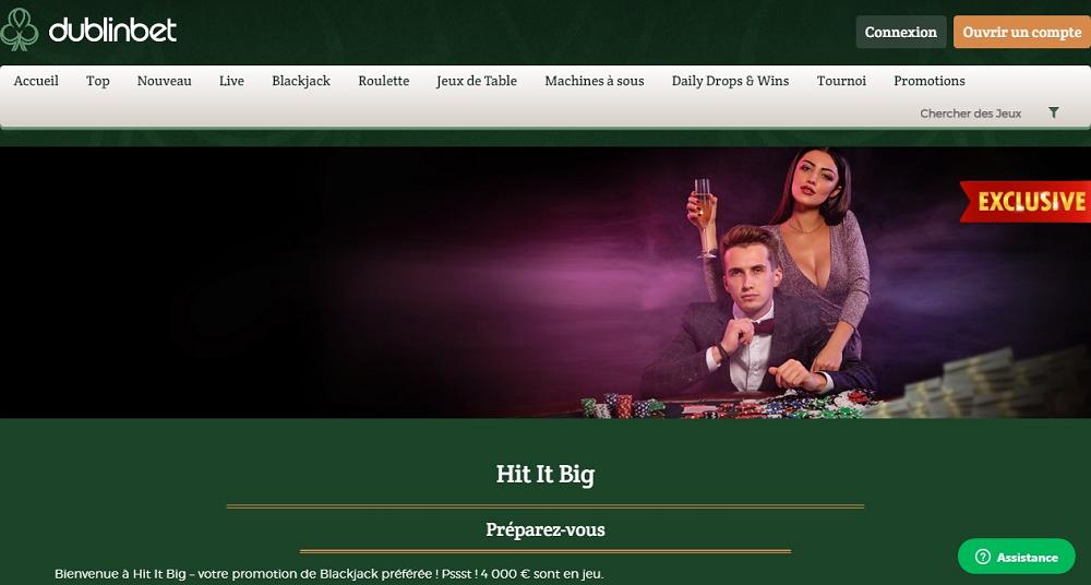 Hit It Big Promo Blackjack sur Dublinbet