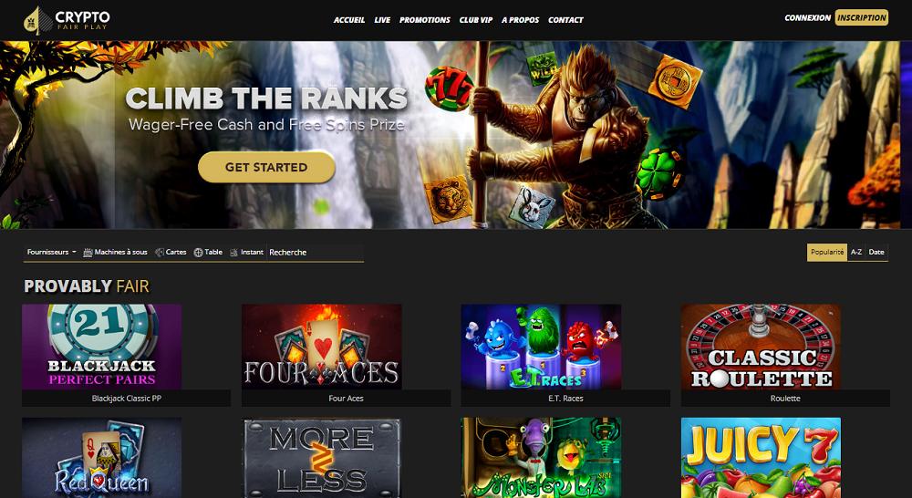 page d'accueil du casino Crypto Fair Play