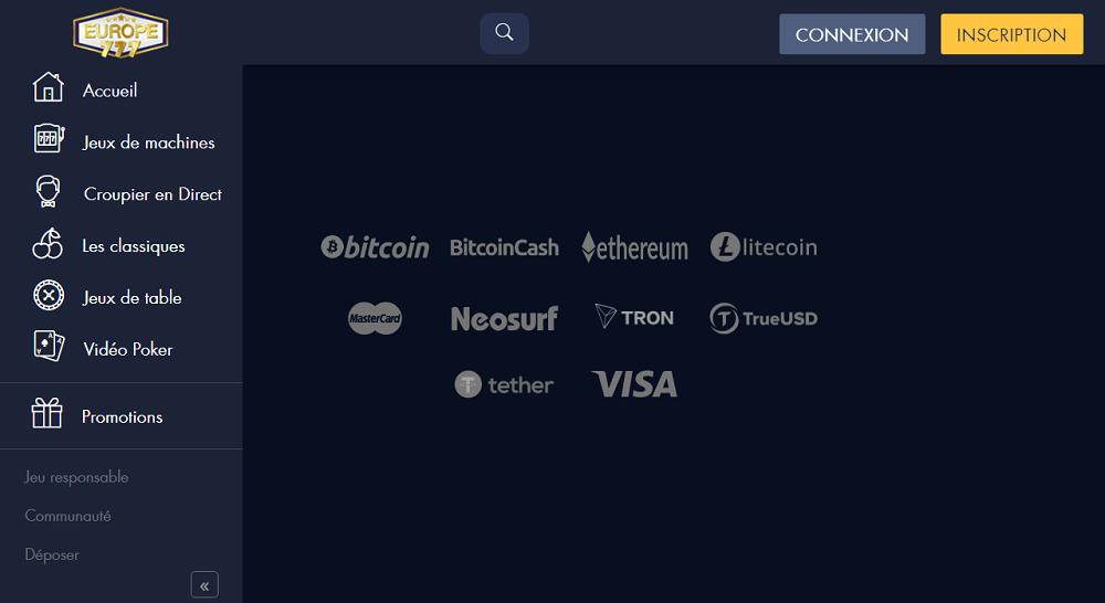 europe777 moyens de paiement crypto